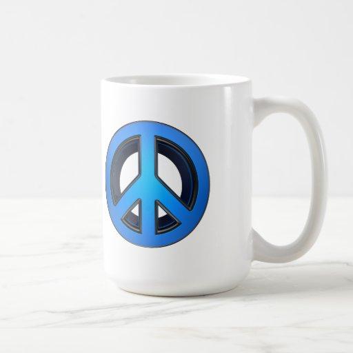 Signo de la paz en azul tazas