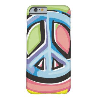Signo de la paz en colores en colores pastel funda para iPhone 6 barely there