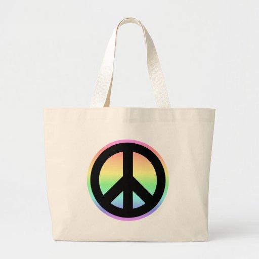 Signo de la paz en colores pastel del arco iris bolsa