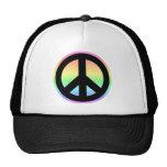 Signo de la paz en colores pastel del arco iris gorros