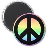 Signo de la paz en colores pastel del arco iris imán de frigorífico