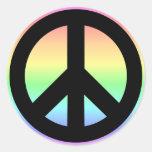 Signo de la paz en colores pastel del arco iris pegatinas redondas