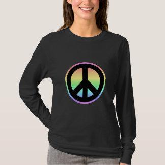 Signo de la paz en colores pastel del arco iris playera