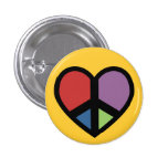 Signo de la paz en un botón del corazón pin