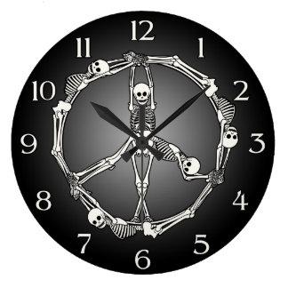 Signo de la paz esquelético reloj redondo grande
