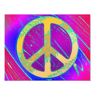 """¡Signo de la paz Estupendo-Psicodélico! Invitación 4.25"""" X 5.5"""""""
