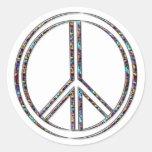 Signo de la paz etiquetas redondas