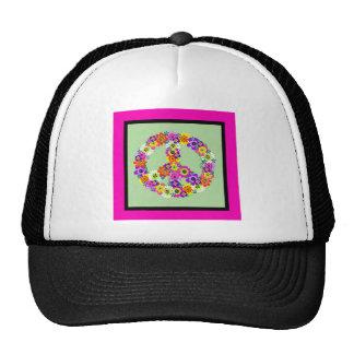 Signo de la paz floral con la frontera fucsia y gorros bordados