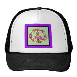 Signo de la paz floral con la frontera púrpura y n gorras