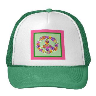 Signo de la paz floral con la frontera rosada y ve gorras