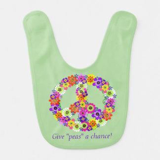 Signo de la paz floral - dé a guisantes una oportu babero de bebé