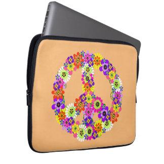 Signo de la paz floral en el melocotón manga portátil
