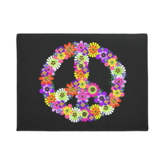 Signo de la paz floral en negro felpudo