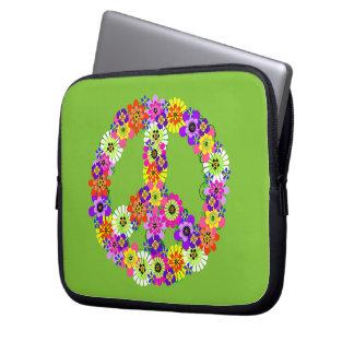 Signo de la paz floral en verde lima funda portátil