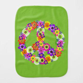Signo de la paz floral en verde lima paños de bebé