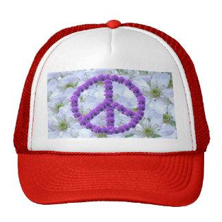 signo de la paz florecido gorras