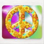 Signo de la paz florido alfombrillas de raton