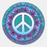 Signo de la paz florido etiqueta redonda