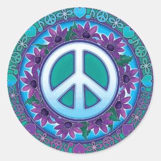 Signo de la paz florido etiqueta