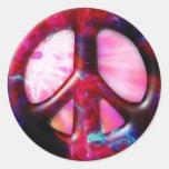 Signo de la paz fresco de la nebulosa del espacio pegatinas redondas