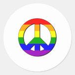 Signo de la paz gay etiqueta redonda