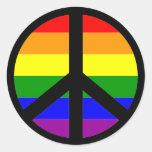 Signo de la paz gay pegatina redonda
