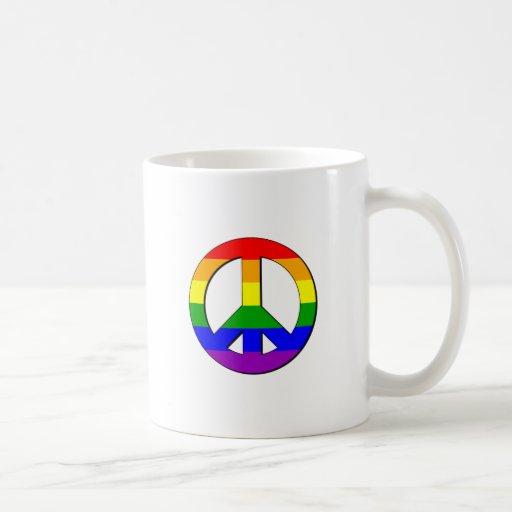 Signo de la paz gay taza clásica