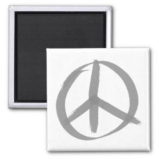 Signo de la paz gris imán cuadrado