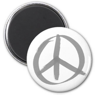 Signo de la paz gris imán redondo 5 cm
