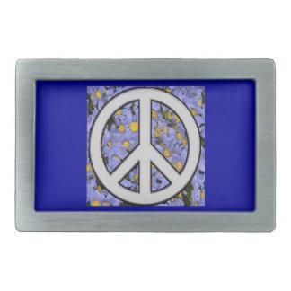 signo de la paz hebilla de cinturon rectangular