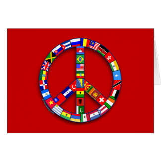 Signo de la paz hecho de las camisetas de las tarjeta de felicitación