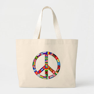 Signo de la paz hecho de productos de las banderas bolsa