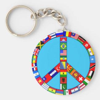 Signo de la paz hecho de productos de las banderas llavero redondo tipo pin