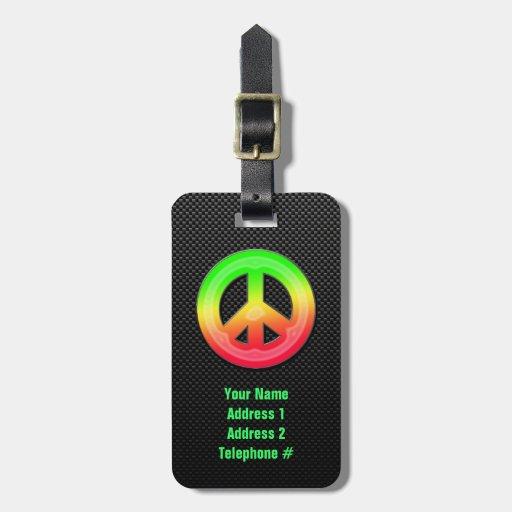 Signo de la paz liso etiquetas para equipaje