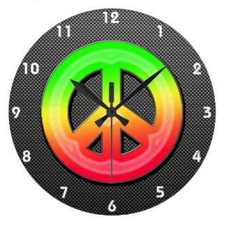 Signo de la paz liso reloj redondo grande
