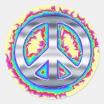 Signo de la paz llameante psicodélico pegatina redonda