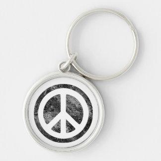 Signo de la paz llavero redondo plateado
