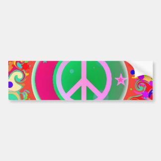 Signo de la paz, luna, estrellas y todo pegatina para auto