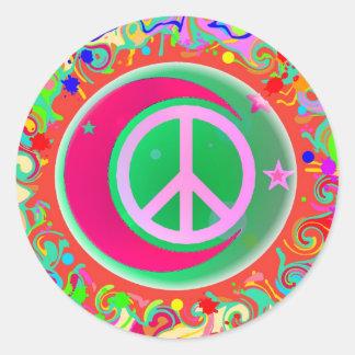 Signo de la paz, luna, estrellas y todo pegatina redonda