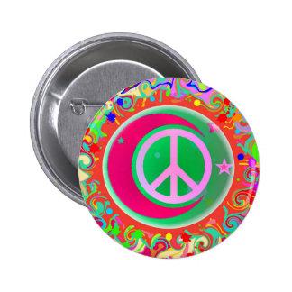 Signo de la paz, luna, estrellas y todo pin redondo de 2 pulgadas
