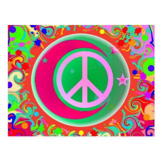 Signo de la paz, luna, estrellas y todo postales