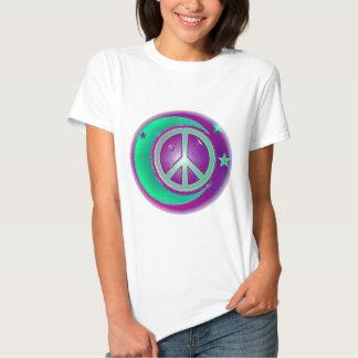Signo de la paz, luna y 3 estrellas playera
