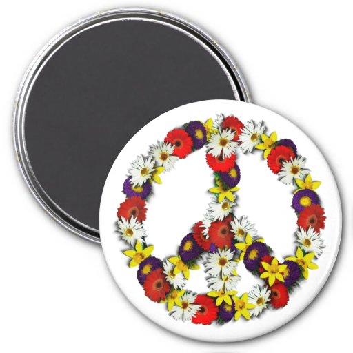 Signo de la paz Magner de la flor Iman Para Frigorífico
