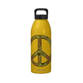 Signo de la paz maravilloso del hippy 60s botellas de beber