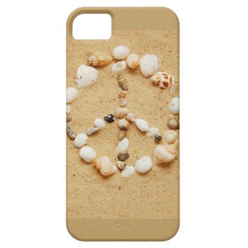 Signo de la paz minúsculo del Seashell iPhone 5 Cárcasa
