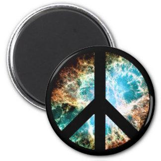 Signo de la paz (nebulosa de cangrejo) imán redondo 5 cm