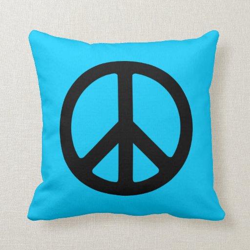 Signo de la paz negro cojines