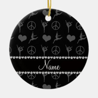 Signo de la paz negro conocido de encargo de los adorno navideño redondo de cerámica