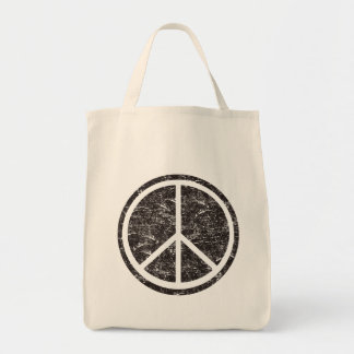 Signo de la paz negro del vintage bolsa tela para la compra