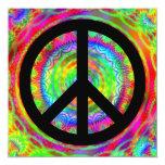"""Signo de la paz negro enrrollado invitación 5.25"""" x 5.25"""""""